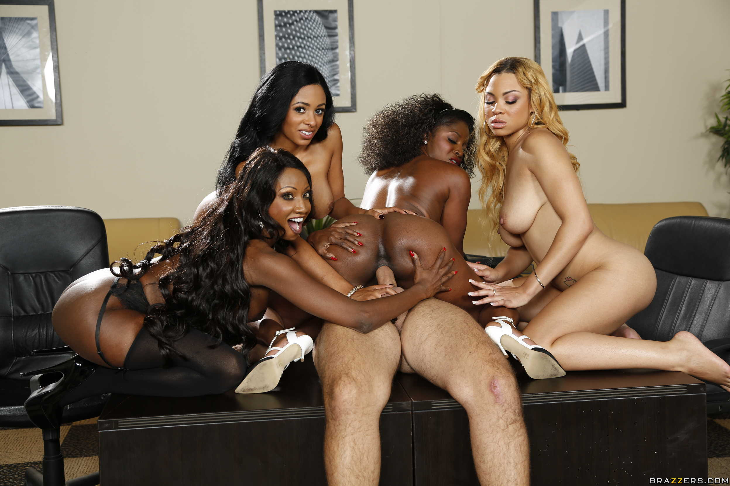 4 Play Porn - Anya Ivy, Diamond Jackson, Jade Aspen and Jasmine Webb in Office 4-Play  VII: Ebony Babes